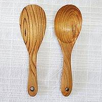 Teakwood cooking utensils, 'Natural Meal' (pair) - Pair of Hand-Carved Teakwood Cooking Utensils from Thailand