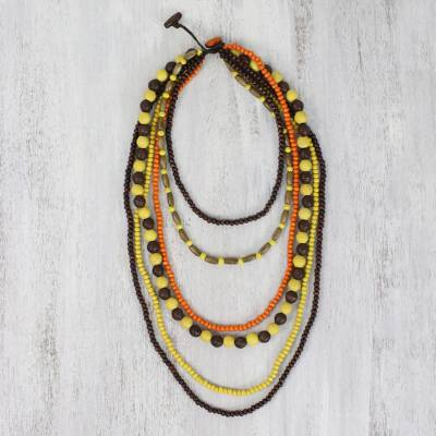 Beaded wood necklace, 'Tropic Solstice' - Brown and Yellow Wooden Beaded Necklace