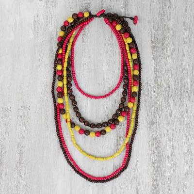 Beaded wood necklace, 'Tropic Gala' - Pink, Yellow and Brown Wood Beaded Necklace