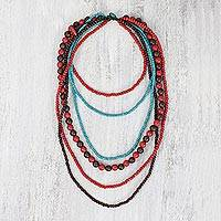 Beaded wood necklace, 'Tropic Heat' - Assorted Wooden Beaded Strand Necklace