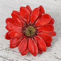 Natural aster brooch pin, 'Let It Bloom in Cardinal Red' - Natural Aster Flower Brooch in Cardinal Red from Thailand