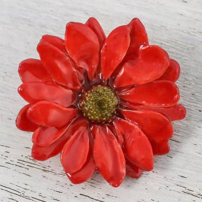 Natural aster flower brooch in cardinal red from thailand let it natural aster brooch pin let it bloom in cardinal red natural aster mightylinksfo