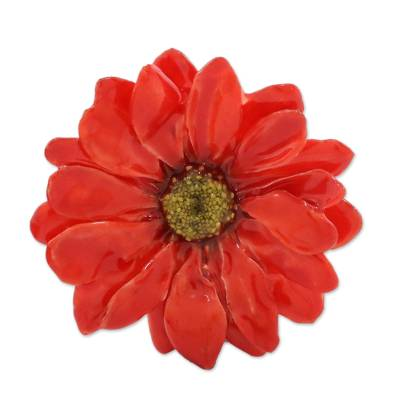 Natural Aster Flower Brooch in Cardinal Red from Thailand
