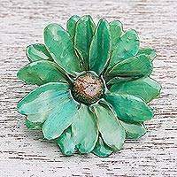 Natural aster brooch pin, 'Let It Bloom in Turquoise' - Natural Aster Flower Brooch in Turquoise from Thailand