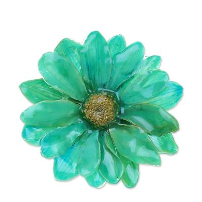 Natural Aster Flower Brooch in Turquoise from Thailand