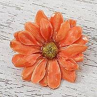 Natural aster brooch pin, 'Let It Bloom in Tangerine' - Natural Aster Flower Brooch in Tangerine from Thailand