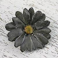 Natural aster brooch pin, 'Let It Bloom in Charcoal' - Natural Aster Flower Brooch in Charcoal from Thailand
