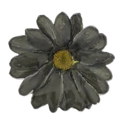 Natural Aster Flower Brooch in Charcoal from Thailand