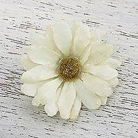Natural aster brooch, 'Let It Bloom in Vanilla' - Natural Aster Flower Brooch in Vanilla from Thailand