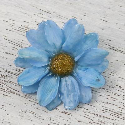 Natural aster brooch pin, 'Let It Bloom in Sky Blue' - Natural Aster Flower Brooch in Sky Blue from Thailand