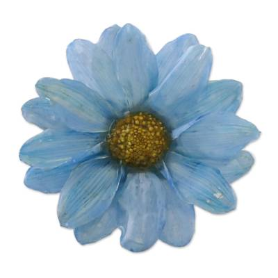Natural Aster Flower Brooch in Sky Blue from Thailand