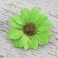 Natural aster brooch pin, 'Let It Bloom in Spring Green' - Natural Aster Flower Brooch in Spring Green from Thailand