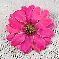 Natural aster brooch pin, 'Let It Bloom in Fuchsia' - Natural Aster Flower Brooch in Fuchsia from Thailand