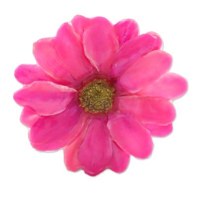 Natural Aster Flower Brooch in Fuchsia from Thailand