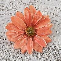 Natural aster brooch pin, 'Let It Bloom in Peach' - Natural Aster Flower Brooch in Peach from Thailand