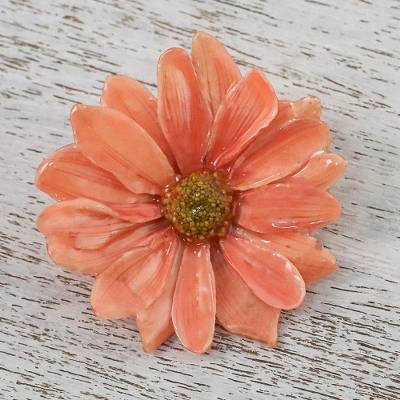 Natural aster flower brooch in peach from thailand let it bloom in natural aster brooch pin let it bloom in peach natural aster flower mightylinksfo