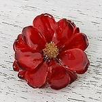 Natural Cosmos Flower Brooch in Crimson from Thailand, 'Blooming Cosmos in Crimson'
