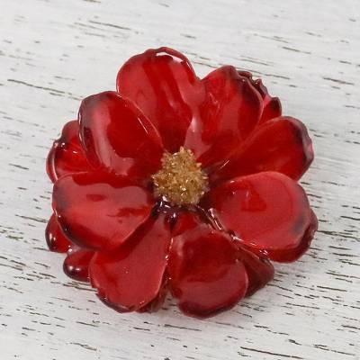 Natural cosmos brooch pin, 'Blooming Cosmos in Crimson' - Natural Cosmos Flower Brooch in Crimson from Thailand