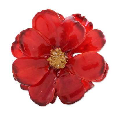 Natural Cosmos Flower Brooch in Crimson from Thailand