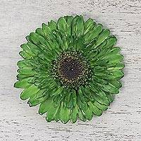 Natural gerbera brooch pin, 'Splendid Petals in Moss Green' - Natural Gerbera Flower Brooch in Moss Green from Thailand