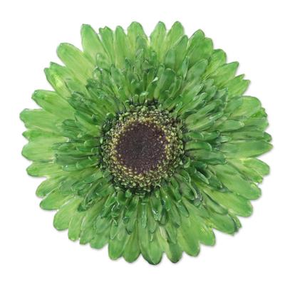 Natural Gerbera Flower Brooch in Moss Green from Thailand