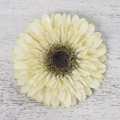 Natural gerbera brooch pin, 'Splendid Petals in Vanilla' - Natural Gerbera Flower Brooch in Vanilla from Thailand