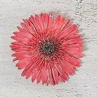 Natural gerbera brooch, 'Splendid Day' - Handmade Natural Deep Pink Gerbera Brooch with Brass Pin