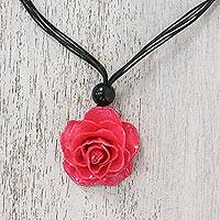 Natural rose pendant necklace, 'Rosy Chic in Fuchsia' - Natural Rose Pendant Necklace in Fuchsia from Thailand