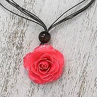 Natural rose pendant necklace, 'Rosy Chic in Pink' - Natural Rose Pendant Necklace in Pink from Thailand