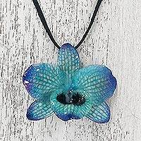 Natural orchid pendant necklace, 'Natural Feeling in Blue' - Adjustable Natural Orchid Necklace in Blue from Thailand