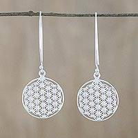 Sterling silver dangle earrings, 'Fractal Circle' - Thai Sterling Silver and Cubic Zirconia Dangle Earrings