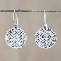 Sterling silver dangle earrings, 'Woven Circle' - Sterling Silver Circle Weave Dangle Earrings from Thailand
