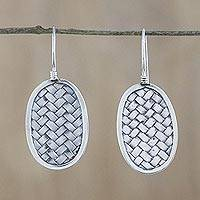 Sterling silver dangle earrings, 'Woven Oval' - Sterling Silver Oval Weave Dangle Earrings from Thailand