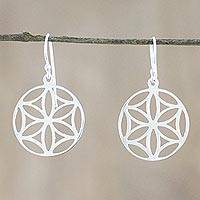 Sterling silver dangle earrings, 'Inner Blossoms' - Sterling Silver Floral Dangle Earrings from Thailand