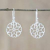 Sterling silver dangle earrings, 'Frozen Hearts' - Sterling Silver Hearts Dangle Earrings from Thailand