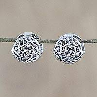 Sterling silver hoop earrings, 'Anemone Orbs' - Sterling Silver Abstract Anemone Hoop Earrings from Thailand