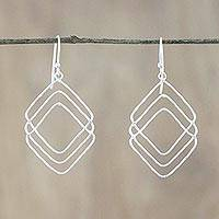 Sterling silver dangle earrings, 'Three of Diamonds' - Handmade Thai Sterling Silver Geometric Dangle Earrings