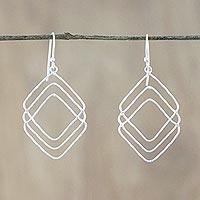 Sterling silver dangle earrings, 'Three of Diamonds' - Handmade Thai Sterling Silver Geometric Dangle Earrings