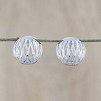 Rhodium-plated sterling silver hoop earrings, 'Bangkok Seed' - Thai Rhodium-Plated Sterling Silver Orbs Hoop Earrings