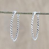 Sterling silver hoop earrings, 'Spiral Onwards' - Handmade Sterling Silver Twisted Hoop Earrings from Thailand