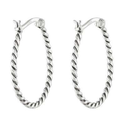Handmade Sterling Silver Twisted Hoop Earrings from Thailand