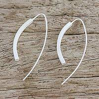 Sterling silver drop earrings, 'Curved Pillars' - Curvy Sterling Silver Drop Earrings from Thailand
