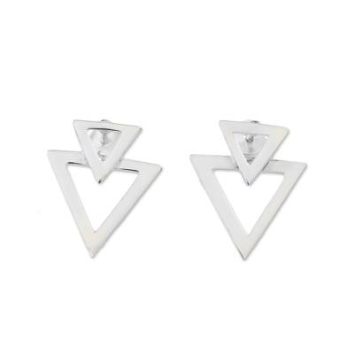 Sterling Silver Triangles Button Earrings from Thailand