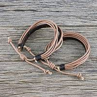 Men's leather and cotton cord bracelets, 'Bold Espresso Contrast' (pair) - Pair of Men's Leather Cord Wristband Bracelets from Thailand