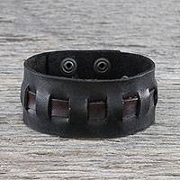Men's leather wristband bracelet, 'New Pathways in Black' - Men's Black Leather Wristband Bracelet from Thailand