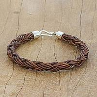 Braided leather bracelet, 'Thai Insight in Chestnut' - Handmade Brown Braided Leather Bracelet from Thailand