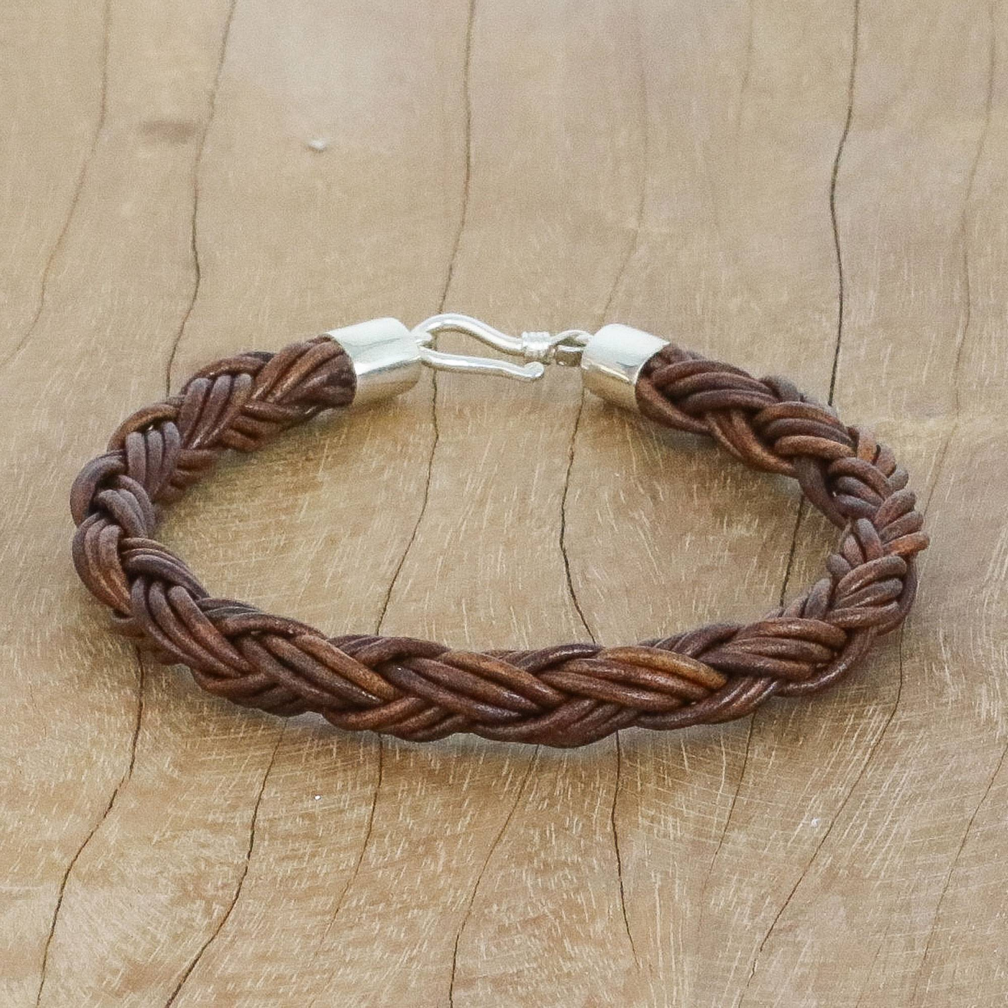 Handmade Brown Braided Leather Bracelet From Thailand Thai Insight In Chestnut