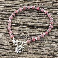 Rhodonite charm bracelet, 'Lucky Elephant' - Pink Rhodonite and Karen Silver Charm Bracelet with Elephant