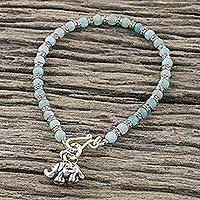 Amazonite charm bracelet, 'Lucky Elephant' - Blue Amazonite and Sterling Silver Elephant Bracelet Om