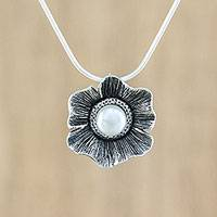 Cultured pearl pendant necklace, 'Floral Glow' - Cultured Pearl Floral Pendant Necklace from Thailand